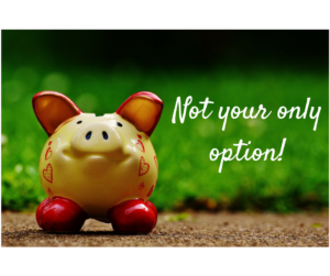 A picture of a piggy bank. The captions reads: Not your only option!